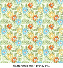 Watercolor flower motif background. Hand painted earthy whimsical seamless pattern. Modern floral linen textile for spring summer home decor. Decorative scandi style colorful nature all over print