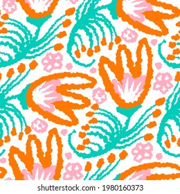 Watercolor flower motif background. Hand painted whimsical seamless pattern. Modern floral textile for spring summer home decor. Playful scandi style colorful doodle all over print