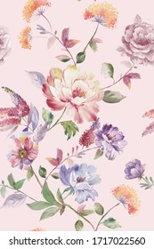 watercolor flower on the pink background is hand painted with delicate and delicate flowers