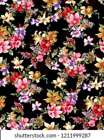 watercolor flower pattern blackbackground