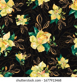 Watercolor flower pattern. Hand painted yellow orchid with gold details on black background
