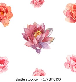 Watercolor flower pattern hand painted isolated on white background with set of flowers(pions and lotus)