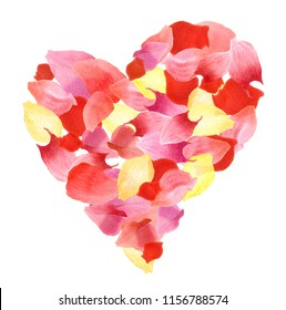 Watercolor flower petals heart. Love design element isolated on white background. Valentine day card template