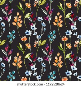 Watercolor flower seamless pattern. Bright colorful design for fabric, wallpaper, gift paper, etc.