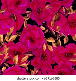 Watercolor flower seamless pattern. Camellia floral background.