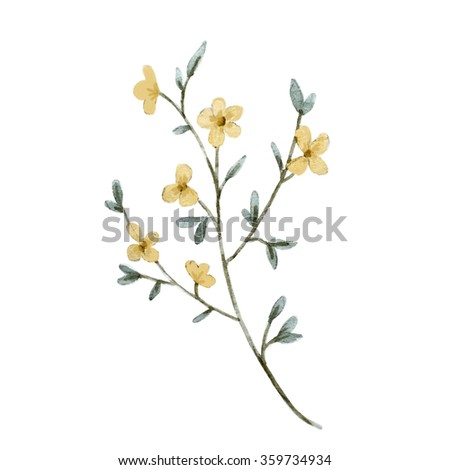 Royalty Free Stock Illustration Of Watercolor Flower Simple Branch