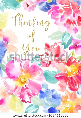 watercolor flower sympathy card thinking you stock illustration