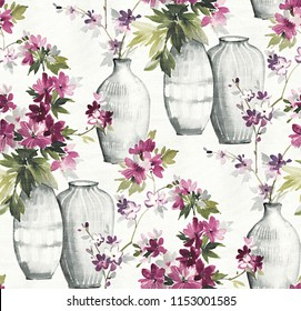 Watercolor flower and vase seamless pattern