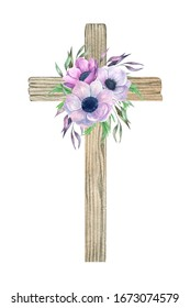 Watercolor Flower wood Cross. Easter Cross with flowers bouquet.  Baptism, Holy Spirit. Easter religious cross perfect for card making and Easter invitation