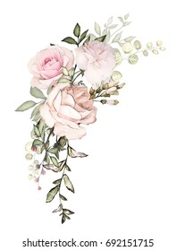watercolor flowers arrangements. floral illustration. composition of flowers pink rose, Leaf and buds. Cute illustration for wedding or  greeting card.  branch of flowers isolated on white background
