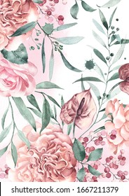 Watercolor flowers background garden English roses, anthurium and eucalyptus.
