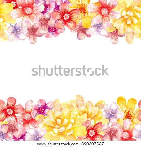 Watercolor Flowers Borders Seamless Artistic Borders Stock