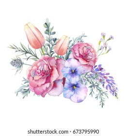 Watercolor flowers bouquet. Hand painted botanical illustration with eucalyptus leaves, wild flowers, rose, tulip, wisteria, green branches isolated on white background. Floral artwork