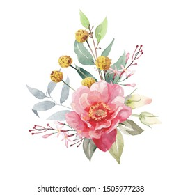 Watercolor flowers bouquet isolated on white background