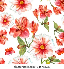 Watercolor flowers and butterflies seamless background texture (alstroemeria and dahlia flowers)