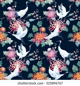 Watercolor flowers Chrysanthemum pattern, Red Heads crane, Asian style