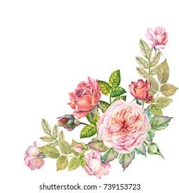watercolor flowers corner