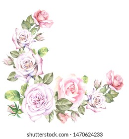 watercolor flowers corner with roses and leaves