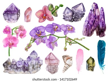 Watercolor flowers, crystals, seashell, feathers isolated on white background. Crystal cluster, amethyst, rose quartz, smoky quartz, orchids.