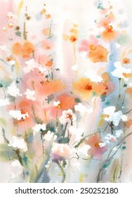 Watercolor Flowers Floral Dreamy Background Texture Hand Painted