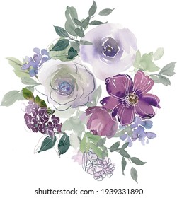 Watercolor flowers. Floral watercolor illustration. Beautiful composition. Design for textile, wallpapers, greeting cards.
