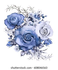 watercolor flowers. floral illustration blue  rose. branch of flowers isolated on white background. Leaf and buds. Cute composition for wedding or  greeting card