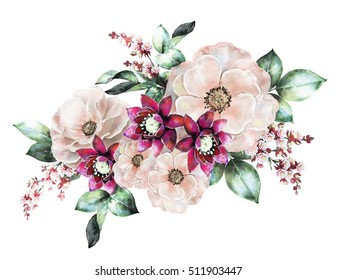 watercolor flowers. floral illustration, flower in Pastel colors, pink rose. branch of flowers isolated on white background. Leaf and buds. Cute composition for wedding or  greeting card
