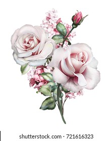 watercolor flowers. floral illustration, Leaf and buds. Botanic, bouquet for wedding or  greeting card.  branch of flowers - roses, peonies, isolated on white background