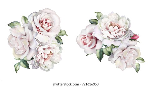 watercolor flowers. floral illustration, Leaf and buds. Botanic composition for wedding or  greeting card.  branch of flowers - roses, peonies, isolated on white background