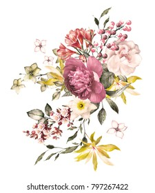 watercolor flowers. floral illustration, Leaf and buds. Botanic composition for wedding or  greeting card.  branch of flowers - roses, art design