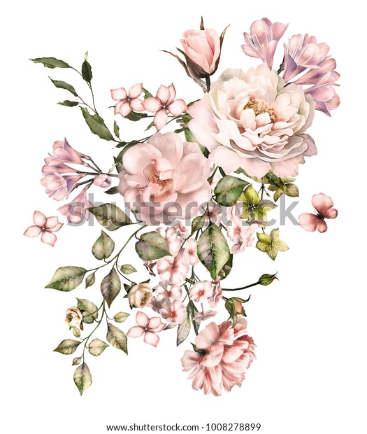 watercolor flowers. floral illustration, Leaf and buds. Botanic composition for wedding or  greeting card.  branch of flowers - roses, romantic