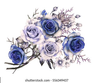 watercolor flowers. floral illustration in Pastel colors, blue rose. bunch of flowers isolated on white background. herbs, Leaf and buds. Cute composition for wedding, greeting card. romantic bouquet