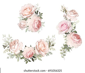 watercolor flowers. floral illustration in Pastel colors. Bouquet of flowers pink rose, Leaf