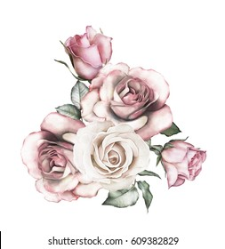 watercolor flowers. floral illustration - pink rose. branch of flowers isolated on white background. Leaf and buds. Cute composition for wedding or  greeting card