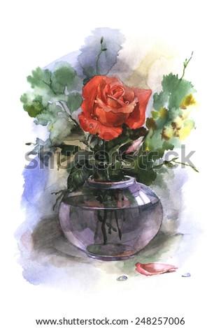 Watercolor Flowers Glass Vase Stock Illustration 248257006
