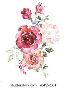 Watercolor flowers. Hand painted floral illustration. Bouquet of flowers pink rose, leaves. Design arrangement for textile, greeting card. Abstraction  branch of flowers isolated on white background.