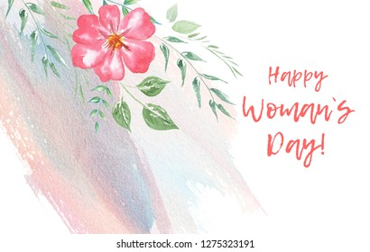 A watercolor of Flowers and inscription 8 March. Aquarelle Colorful blooming branches. Bouquets Flower composition for your design 8 March, Women International Day and etc.