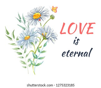 A Watercolor of Flowers and inscription Love on isolated background. Colorful blooming branches. Bouquets Flower composition for your design Valentines Day, Wedding invitations and etc.