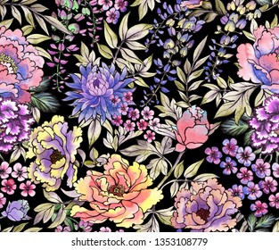 Watercolor flowers. Japanese seamless pattern. Asian ink print with chrysanthemum and wisteria