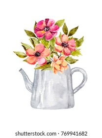 Watercolor flowers in kettle. Hand drawn illustration. Perfect for wedding invitations, happy birthday postcards, save the date postcards. Bright design. Botanical artwork.