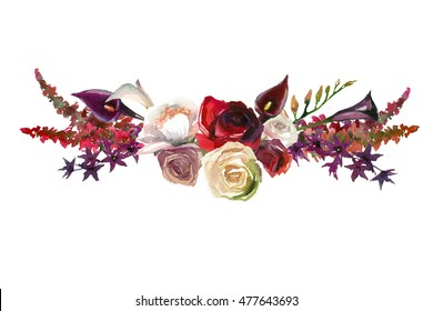 Burgundy flower images stock photos vectors shutterstock watercolor flowers and leaves floral bouquet red purple burgundy white roses and peonies leaf fall autumn mightylinksfo