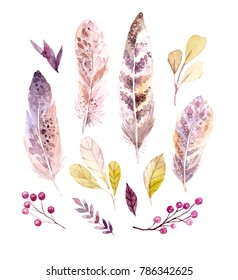 Watercolor flowers and leaves. Hand drawn illustration