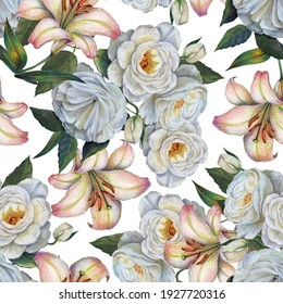 Watercolor flowers lily with roses on white background. Spring seamless pattern.