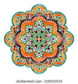 Watercolor flowers mandala, gorgeous retro ethnic design elements