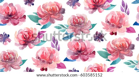 Watercolor flowers pattern coral pink floral stock illustration watercolor flowers pattern coral and pink floral bouquet mightylinksfo