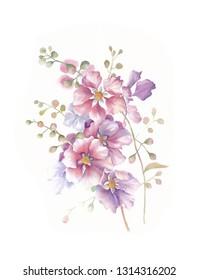 Watercolor flowers pink and purple flower head leaves