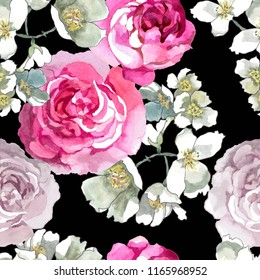 watercolor flowers pink and white on black background seamless pattern for fabrics, paper
