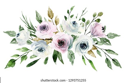 Watercolor flowers, pink and white roses. Bouquet for wedding invitation, greeting card, poster, flyer, banner design. Floral blossom watercolor painting isolated on white.