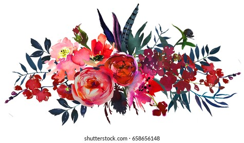 Watercolor flowers red navy blue  magenta pink bouquet landscape.