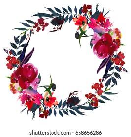 Watercolor flowers red navy blue  magenta pink wreath.